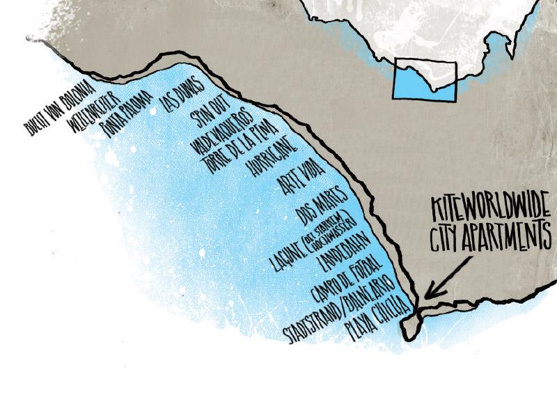 Tarifa Kite Spots Karte