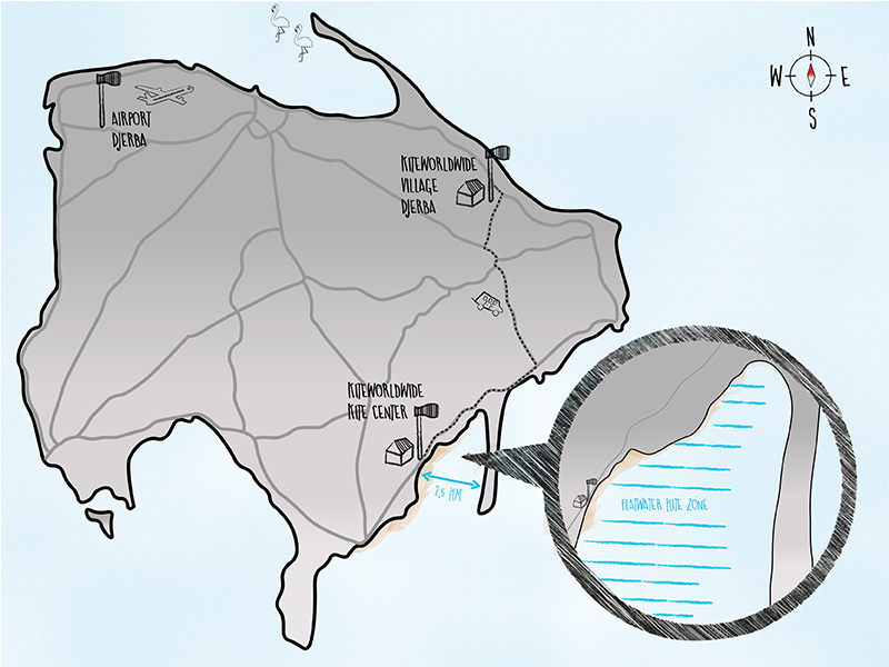 Spotmap zum Kitesurfen Djerba mit KiteWorldWide Village Djerba