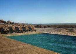 Marokko, La Tour d'Eole Dakhla Pool mit Lagunenblick