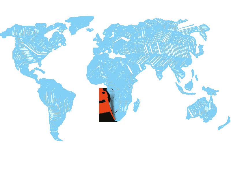 Weltkarte zeigt Langebaan in Südafrika zum Kitesurfen mit KiteWorldWide