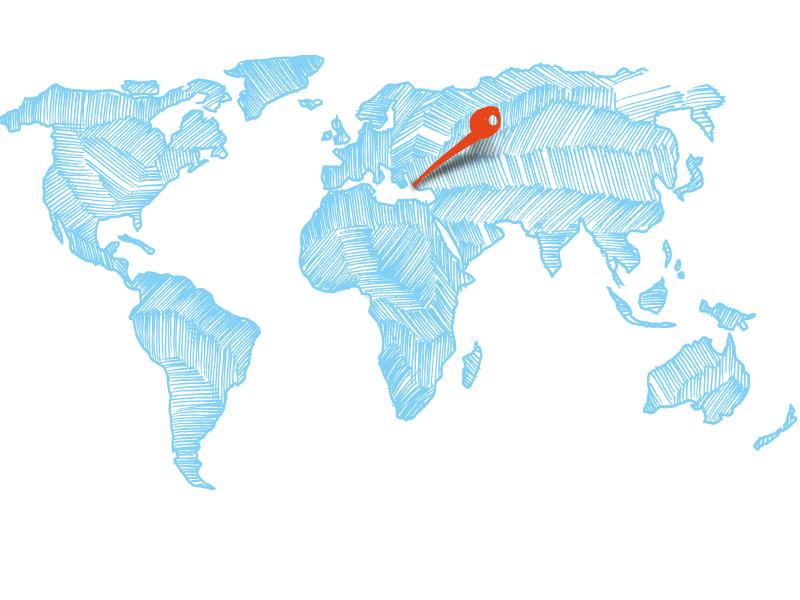 Weltkarte zeigt Kos mit roter Pinnadel
