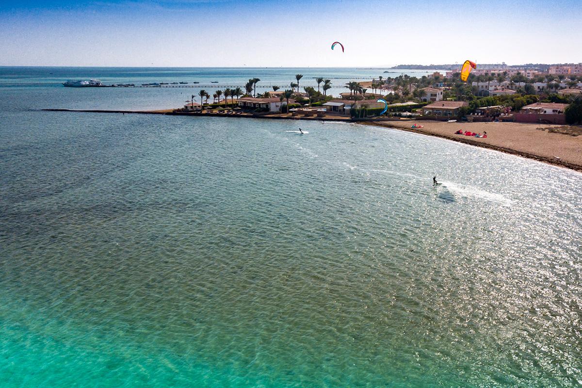 Der Kitespot in der Seahorse Bay in Aegypten.