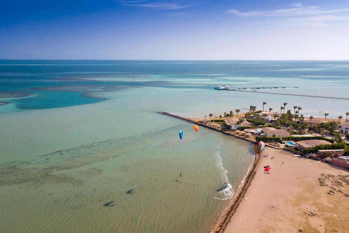 Kitesurfen in der Seahorse Bay in Aegypten